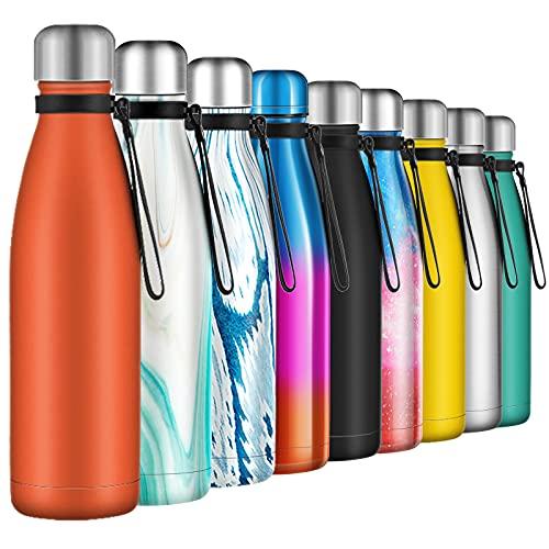 Botella de Agua Acero Inoxidable 500ml, Aislamiento de Vacío de Doble Pared, Botella termica, con 1 un Cepillo de Limpieza, para Niños, Deporte, Oficina, Gimnasio, Ciclismo