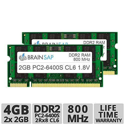 Brainsap 4GB (2X 2GB) DDR2 RAM Dual Channel Kit SO-DIMM PC2-6400S 2Rx8 800 MHz Arbeitsspeicher - CL6 200 PIN SODIMM - Laptop, Notebook & Netbook