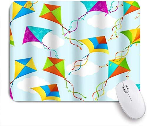 Dekoratives Gaming-Mauspad,Bunte lustige Standar Kite Hintergrundmuster Sky Prints,Bürocomputer-Mausmatte mit rutschfester Gummibasis