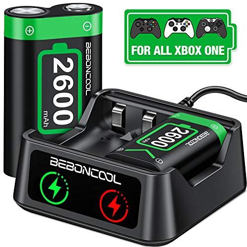 BEBONCOOL Xbox One Controller Akku, Xbox Controller Akku mit 2x2600mAh Wiederaufladbarer Akku, Xbox One Controller Ladestation für X1 SERRIS X / Xbox One / One S / One X / One Elite Controller