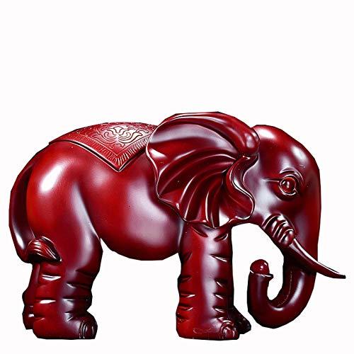 YANRUI Elefant Ornament Dekoration Crafts, gebraucht zu dekorieren der Eingang des Wohnzimmers, TV, Weinklimaschrank, Bücherregal (Farbe: rot) (Color : Red)