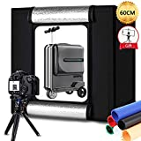 Portable Photo Studio Box 24x24in/60cm, Adjusatable Light Box with 80pcs SMD LED Beads, Photo Shooting Tent with White Light Warm Light and 6 Color Background