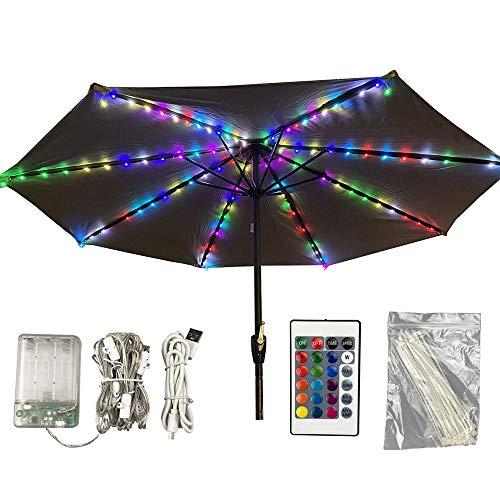 Sonnenschirm Lichter, Patio Umbrella Lights, Lichterkette für Sonnenschirm, 16 Farben 104 LED-Leuchten, mit Fernbedienung, wasserdicht, geeignet für den Innen- und Außenbereich