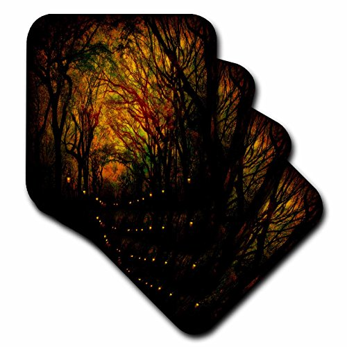 3dRose CST_55939_2 Magic Mall Central Park Trees Soft Coasters, Set of 8