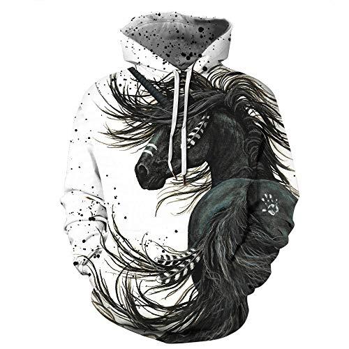 Sweatshirt Zwart Paard Hoodies Pocket Kerstmis Unisex Lelijk Grappige Sweatshirts Novelty 3D Print Casual Sport Lange Mouw