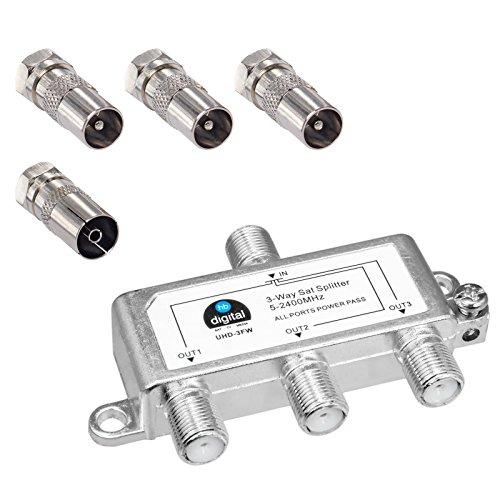 HB-DIGITAL SAT - BK - UKW - Verteiler 3-Fach Splitter (3-Wege) 5-2400 MHz | digital & analog - tauglich | voll geschirmt | SAT DVB-S DVB-S2 Kabelfernsehen DVB-C inkl. Antennen und Kabel IEC Adapter