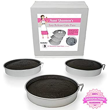Aunt Shannon's Easy Release 8  Cake Pans - Set of 3 Quick Release Pans for Easy Cake Removal Every Time