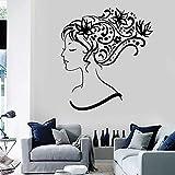 Hermosa chica pegatina de pared vinilo ventana vidrio calcomanía mujer dormitorio peluquero estilista flor arte Mural decoración de barbería