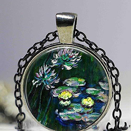 Claude Monet - Collar con colgante de lirios de agua, colgante de pintura de nenúfares, monet, joyería de primavera, joyería de Monet, Impressioni