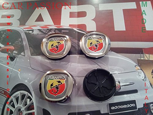 Radkappen/Radzierblenden Abarth 50mm Fiat 500Grande Punto Panda Bravo Wappen Alufelgen