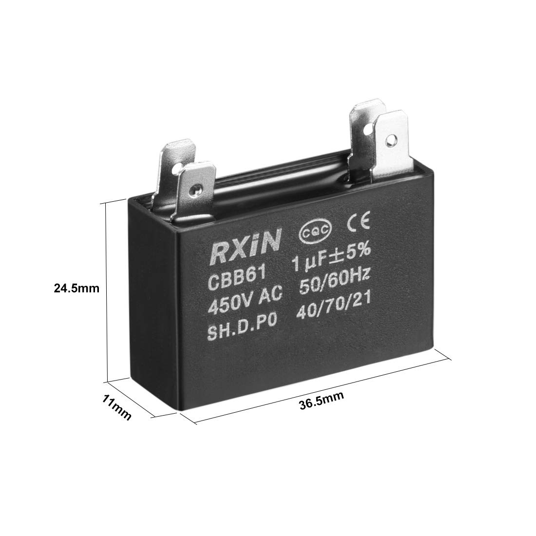 sourcing map Condensador De Funcionamiento CBB61 450V AC 1Uf Doble ...