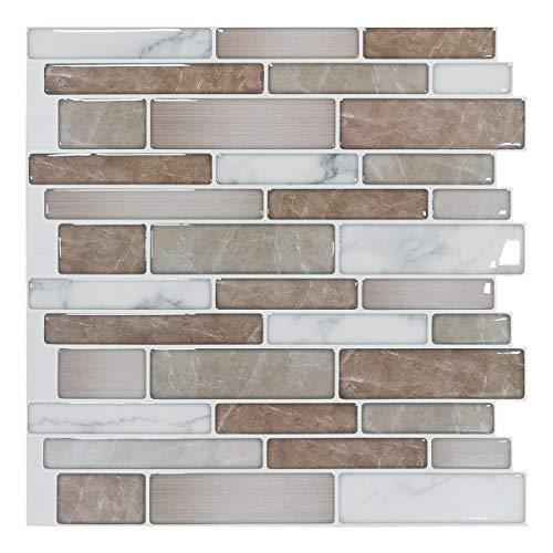 Art3d 10 hojas Premium antimoho autoadhesivo cocina backplash azulejos en mármol, 30x30cm