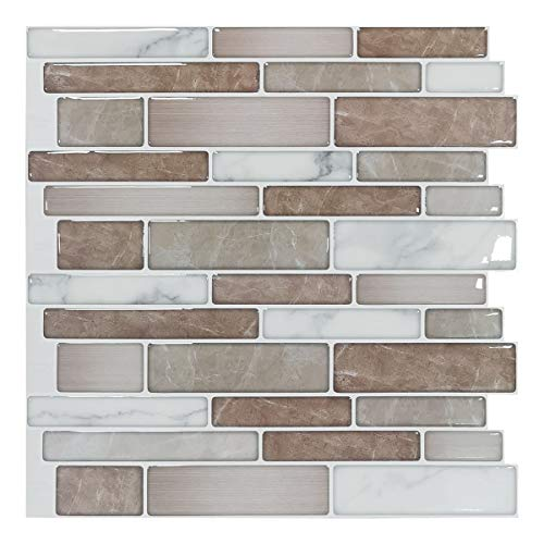 Art3d 10-Sheet Premium Stick On Kitchen Backsplash Tiles, 12'x12' Peel and Stick Self Adhesive Bathroom 3D Wall Tiles, Marble Design