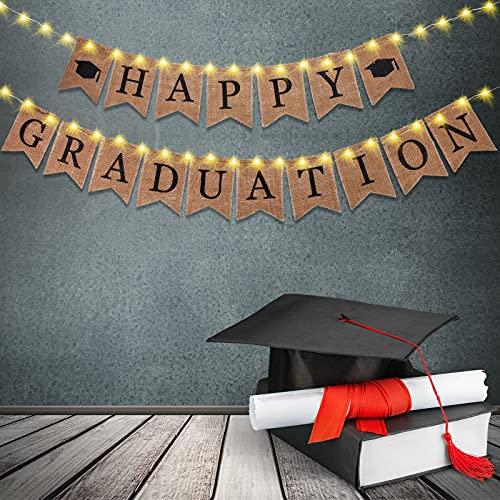 Set de Pancartas de Arpillera de Happy Graduation Guirnalda de Banderines Rústica con 2 Luces de Cadena LED Funciona con Botón de Batería 30 Globos Látex de Graduación para Graduation 2021