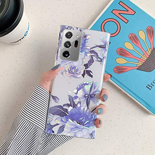 Herbests Kompatibel mit Samsung Galaxy Note 20 Ultra Hülle Transparent Silikon Blumen Schutzhülle Glitzer Glänzend Bunt Ultra Dünn weiche Silikon Handyhülle Tasche Rückschale Crystal Case,Blau