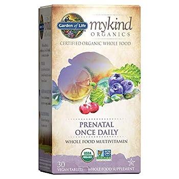 Garden of Life mykind Organics Prenatal Vitamins - 30 Tablets Prenatal Once Daily Whole Food Vitamins for Women with Folate not Folic Acid Vitamin D3 Iron Vegan One a Day Prenatal Multivitamin