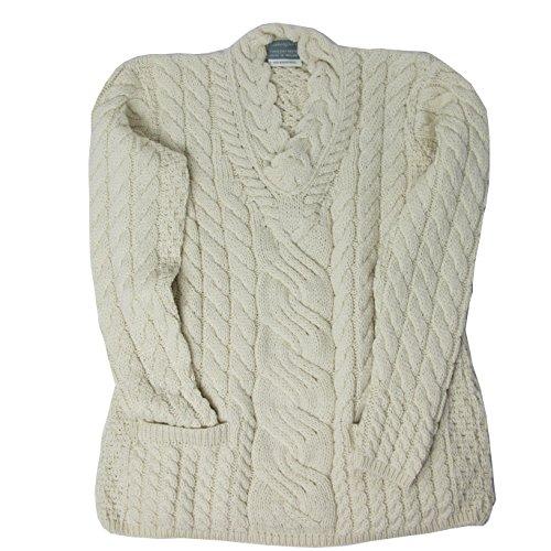 McLaughlin's Irish Shop Irischer Strickpullover für Damen aus 100% Wolle, wollweiß (S)