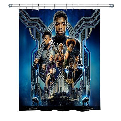 Marvel Serie Movie Duschvorhang, schwarzer Panther, Superheld, wasserdichter Polyesterstoff, Duschvorhang für Badezimmer, Badzubehör mit Haken, 180 x 180 cm