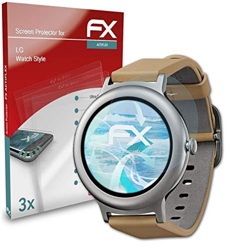 atFoliX Schutzfolie kompatibel mit LG Watch Style Folie, ultraklare & Flexible FX Bildschirmschutzfolie (3X)
