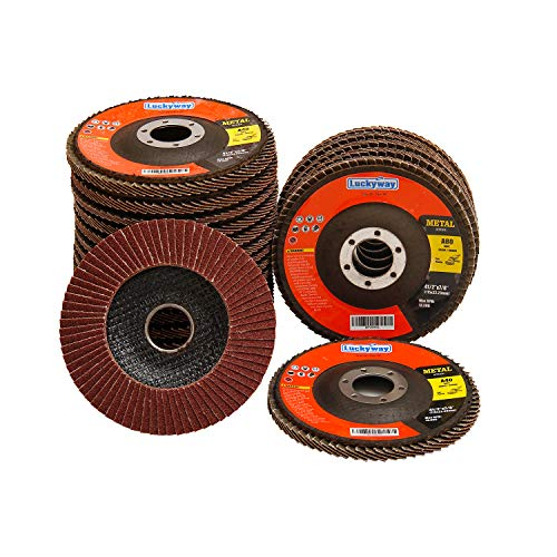 Luckyway 20-Piece 4-1/2 x 7/8 Inch T29 Aluminium Oxide Grinding Wheel Flap Disc, Including 40/60/80/120 Grits