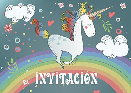 """Edition Colibri 10 Invitaciones en español """"Unicornio"""" (Jgo.1): Juego de 10 Invitaciones..."""
