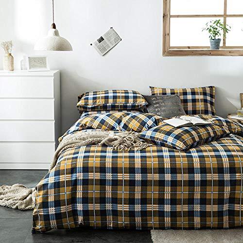 QIANBAOBAO 3-teiliges Set Einfache Bettwäsche aus Reiner Baumwolle 3-teiliger Bettbezug-Andorra_1.2M Dreiteiliges Bett (Bettbezug 160X210Cm)