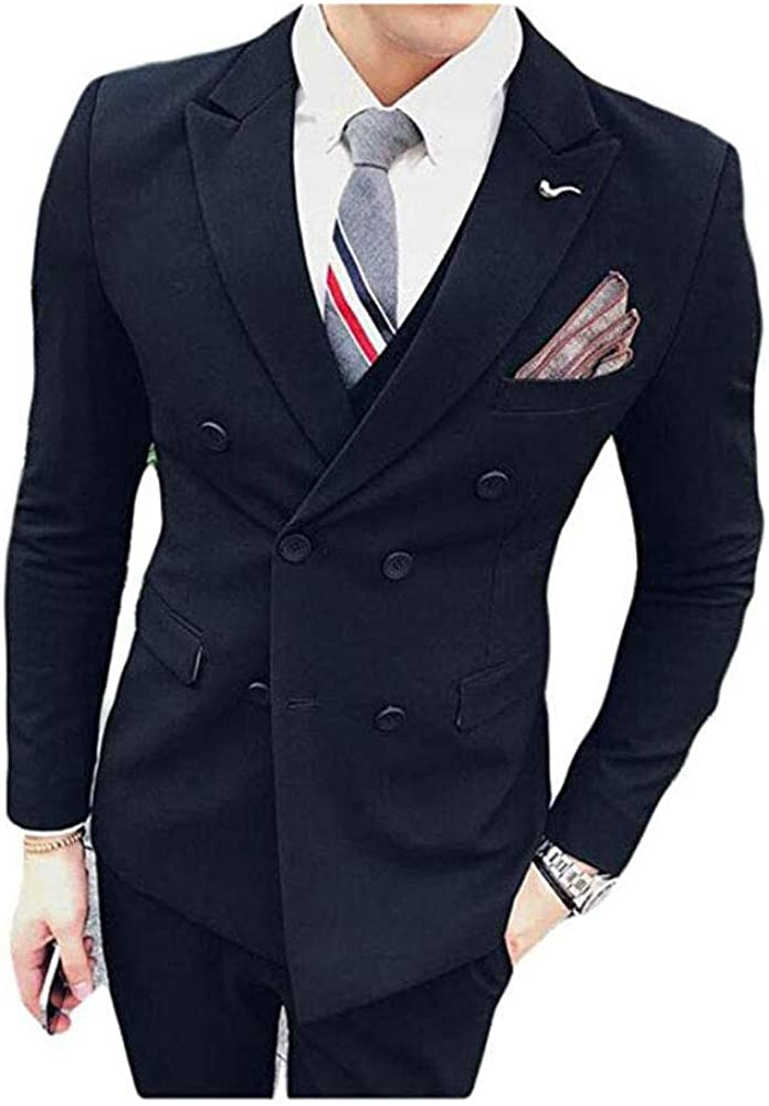 Botong Men's Double Breasted 3 PC Coffee Suits Notch Lapel Wedding Suits Groom Tuxedos