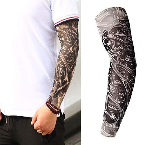 11eb5d91b Skulls Halloween Adult Men Women Slip on Nylon Elastic Stocking Full Arm  Temporary Biker Fake Tattoo
