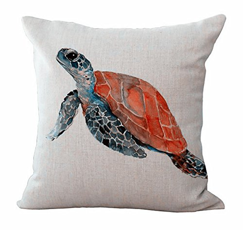 Acelive 18 x 18 inches Sea Turtles Graphic Printing Hug Pillowcase for Sofa Bedroom Living Room Square