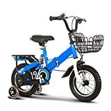 WJYHXW Niños Bicicleta con Formación Ruedas Bicicleta De Montaña Cesta, Cómodo Portátil Asiento, Telescópico Plegable, para 2-10 Años Antiguo Niños Muchachas, Azul,14 Inch