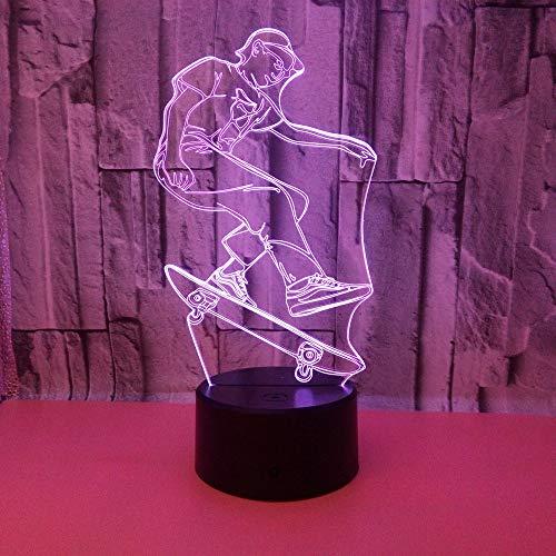 BFMBCHDJ Neue Skateboard 3D Nachtlicht Bunte Touch Fernbedienung Licht Geschenk Atmosphäre 3D Led Kleine Tischlampe A4 Weiß Riss Basis + Fernbedienung