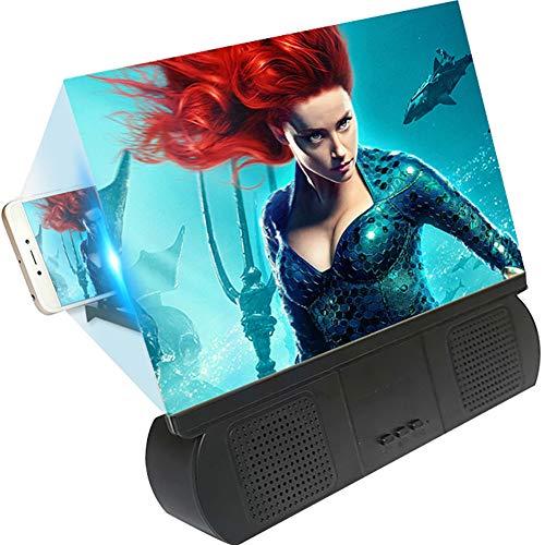 SCREEN 10'' Amplificador de Pantalla de teléfono 3D, Lupa de Pantalla HD con Bluetooth Altavoces Soportes de teléfono Celular. Amplificador de proyector para películas, vídeos y Juegos,Black