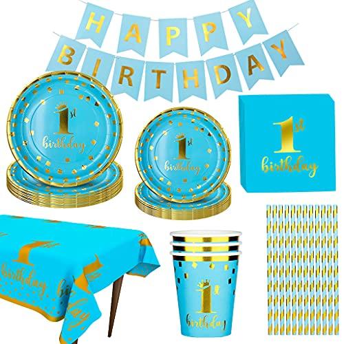 Amycute Feste di 1°Compleanno, 1 Compleanno Piatti, Bicchieri, Tovaglia, Tovaglioli, Striscioni, Cannucce, 1 Compleanno Bambini Festa