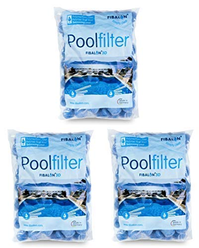 3 x FIBALON 3D - Hochinnovatives + hochwirksamstes Filtermaterial für Pool Sandfilteranlagen im 350g Beutel