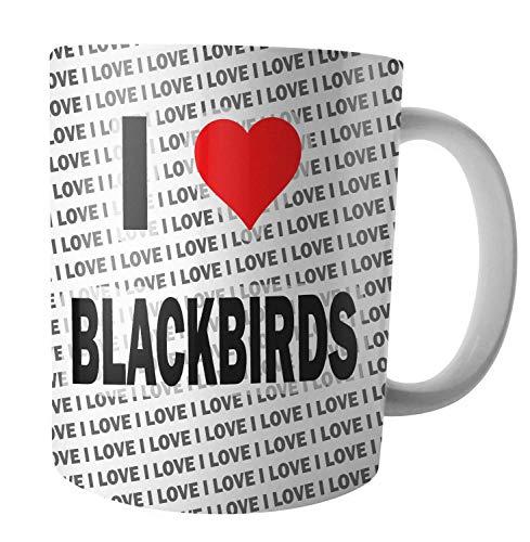 """Tasse mit Aufschrift """"I Love Blackbirds"""", Tee, Kaffee, Tasse, Geburtstag, Weihnachten, Geschenk"""