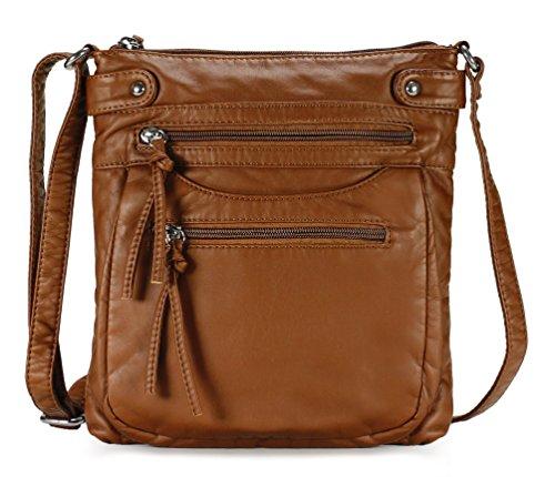 Scarleton Trendy Multi Pocket Crossbody Bag H197304 - Brown