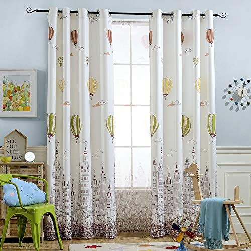 Melodieux Hot Air Balloon Window Thermal Insulated Grommet Top Curtains for Kids Room, 52 by 84 inch, Cream White/Coffee (1 Panel)