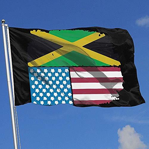 Qinzuisp Vaandel Jamaicaanse Amerikaanse vlag Jamaica Usa Banner met oogjes levendige print polyester Yard Banner Yard Flag Vakantiehuis Vlag 150X90Cm