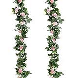 GoMaihe Roses Artificielles Deco, 2pcs x 2.4M Fleurs Artificiels Faux Roses en Soie et Lierre Plante Artificielle Interieur Exterieur Guirlandes de Roses pour Fête Noel Mariage Cuisine Jardin, Rose