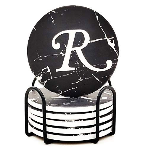 Monogram Coasters For Drinks Absorbent Coaster Set of 6 with Holder Black Marble Style Ceramic Drink Coaster Sets With Cork Base Monogrammed Letter R