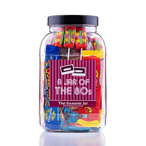 A Jar of the 80s with 1.8kg of retro sweets with personalised card.