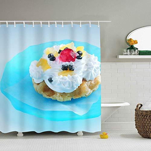 Duschvorhang Kuchen Beeren Cremeteller Blau mit Haken für Badezimmer