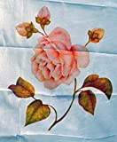 DEKOVALENZ - Rosenfahne Bedruckt, Balifahne MAWAR mit Rosenmotiv, 5 Meter Länge, Farbe:Weiss