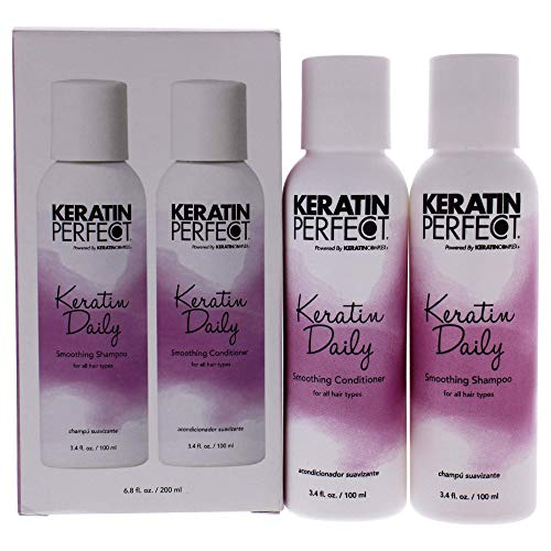 Keratin Perfect Daily Smoothing Shampooing & Conditionner Duo pour Tout Types de Cheveux 3.4 oz 100 ml 2 Pièces 1 Unité