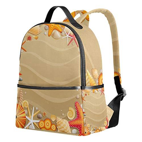 Ahomy Rucksack für Mädchen, Tropische Strand, Sandmuscheln, Seesternen, Rucksack für Schule, Büchertaschen, Casual Daypacks für Reisen und Sport