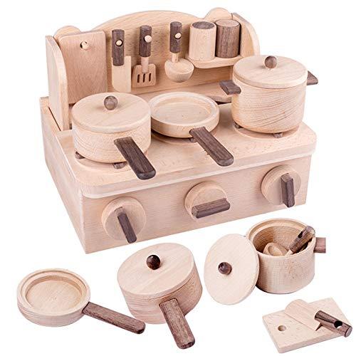 Cocina de simulación para niños, juguetes de madera de educación temprana para la interacción entre padres e hijos y entrenamiento de intereses, madera de haya, juguetes de casita para niños y niñas