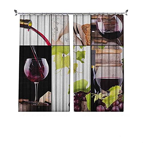 Cortinas de vino opacas 90% con botella de barril de vino, vino gourmet, con sabor a uva, cortinas plisadas para dormitorio, sala de estar, 172 x 172 cm, color burdeos, verde pálido, blanco