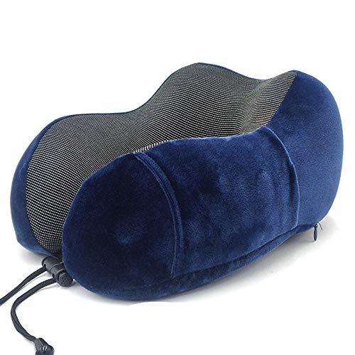 Almohada de Viaje Viscoelástica, Almohada en Forma de U Espuma de Memoria Almohada de Viaje de Tela magnética Almohada de Cuello de Rebote Lento Almohada Multifuncional-Azul Marino