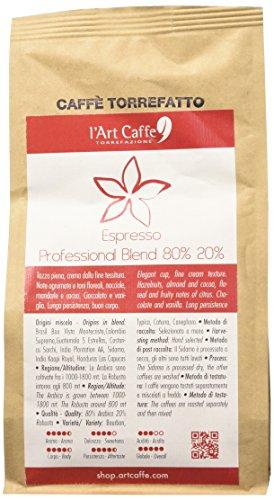 L Art Caffè Caffè Espresso Professional Blend 80% 20%, miscela Arabica e Robusta, MACINATO FILTRO, coltivazione in altitudine, varietà Bourbon Typica Caturra Canephora, selezionato a mano