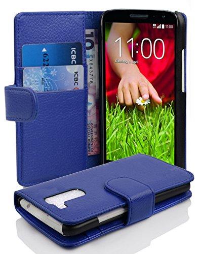 Cadorabo Hülle für LG G2 Mini in KÖNIGS BLAU – Handyhülle aus Strukturiertem Kunstleder mit Standfunktion & Kartenfach – Hülle Cover Schutzhülle Etui Tasche Book Klapp Style